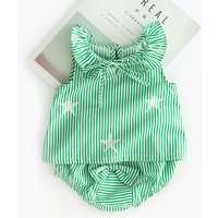 2-piece Star Print Stripes Ruffled Top and Pantie for Baby Girl