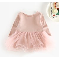 Chic Tulle Layer Long-sleeve Dress for Baby Girl