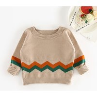 Comfy Wavy Line Print Sweater for Baby