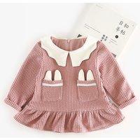 Lovely Frill Hem Solid Long Sleeves Dress for Baby Girl