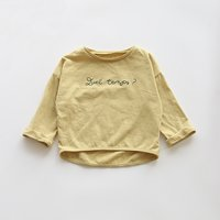 Trendy Solid Long Sleeves Letter Print Tee for Toddler Girl