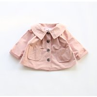 Pretty Solid Side Pockets Trench Coat for Baby and Toddler Girl