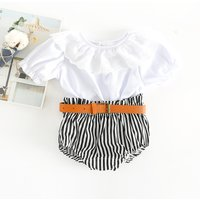 Pretty Ruffled Short-sleeve Top and Striped Shorts Set for Baby Girl