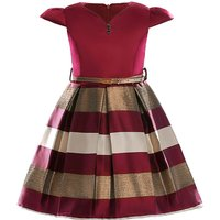 Pretty Plaid Pleated Belted Cap-sleeve Dress for Toddler Girl and Girl