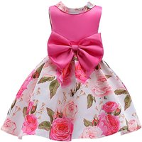 Big Bow-accented Floral Sleeveless Party Dress for Girls