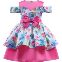 Girl's Charming Flamingo Print Cold Shoulder Ruffled Sateen Party Dress