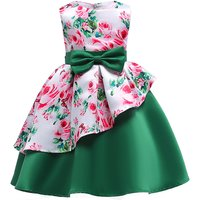 Chic Rose Pattern Ruffle Sateen Party Dress for Girls