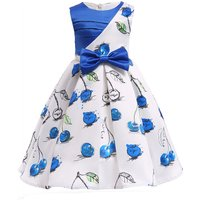 Toddler Girl's Bow Decor Cherry Pattern Sateen Party Dress