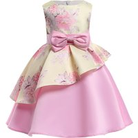 Girl's Elegant Bowknot Ruffled Floral Party Dress