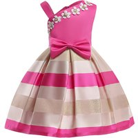 Chic Stripes One Shoulder Sateen Party Dress for Girls