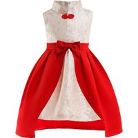 Fashionable Flower Embroider Color Blocked Party Dress for Toddler Girl and Girl