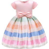 Elegant Bow Decor Striped Short-sleeve Party Dress for Toddler and Kid