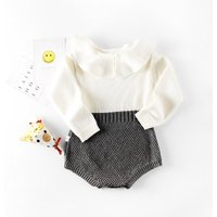 Stylish Sweet Ruffled Color Contrast Long Sleeve Crochet Romper for Baby Girls