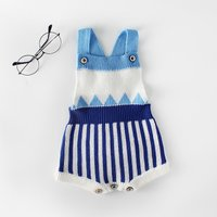 Baby's Trendy Striped Knitted Romper