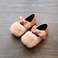 Furry Pompom Decor Bowknot Flats for Toddler and Kids