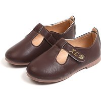 Chic Solid Leather Flats for Toddler Girl