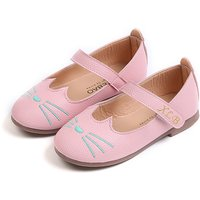 Pretty Cat Embroidered Leather Flats for Toddler Girl