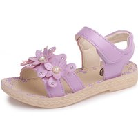 Pretty Solid Flower and Pearl Decor Sandals for Girl