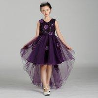 Sweet 3D Flower Sleeveless High-low Dress for Girls