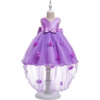 Bow-accented 3D Flowers Decor Sleeveless Tulle Tail Wedding Dress for Toddler Girls and Girls
