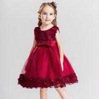 Elegant Appliqued Floral Sleeveless A-Line Wedding Dress Party Dress for Girls