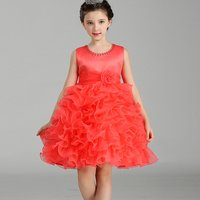 Pretty Floral-accented Ruffled Tutu Party Dress for Girls
