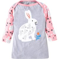 Sweet Rabbit and Floral Print Long Sleeves Tunic for Girls