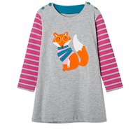 Lovely Fox Applique Stripes Long Sleeves Dress for Baby Girl