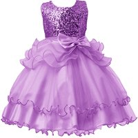 Charming Solid Sequins Ruffled Party Dress for Girls