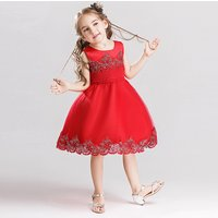 Girl's Chic Lace Trimmed Solid Sleeveless Party Dress