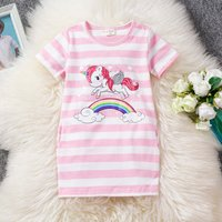 Lovely Striped Unicorn Rainbow Print Short-sleeve Dress for Toddler and Kid