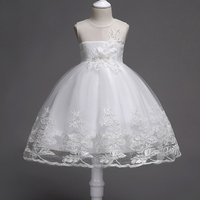 Sweet 3D Flower Appliqued Party Dress for Toddler Girl and Girl