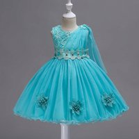 Sassy Solid 3D Flower Decor Belted Tulle Party Dress