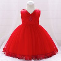 Delicate Solid Bead Decor Tasseled Tulle Party Dress