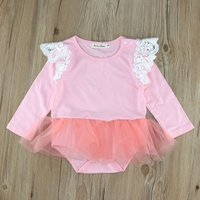 Lace Angel-Sleeve Long-Sleeve Tutu Skirted Bodysuit in Pink for Baby Girls