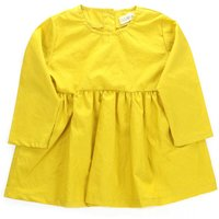 Long-sleeve Solid Yellow Dress for Baby and Toddler Girls
