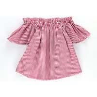 Trendy Off Shoulder Short-sleeve Striped Top for Toddler Girl