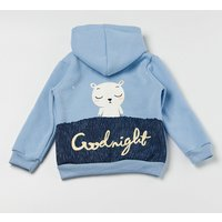 Casual Bear Print Hooded Long-sleeve Coat for Baby