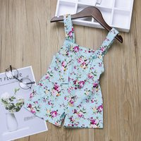 Stylish Floral Print Backless  Sleeveless Overalls