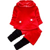2-piece Long-sleeve Hooded Top and Faux-2 Pants Set for Baby Girl