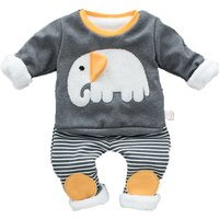 2-piece Adorable Elephant Print Top and Striped Pants Set for Baby