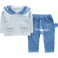 Cute Cat Design Stripes Long-sleeve Top and Pants for Baby