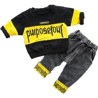 2-piece Cool Letter Long Sleeves Top and Pants for Baby Boy