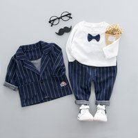 Graceful Bow Tie Decor Tee Stripes Lapel Coat and Pants Set for Baby Boy