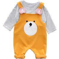 Cute Bear Design Overall and Stripes Tee Set for Baby