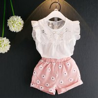 2-piece Flutter Sleeves Hollow Out Top and Floral Shorts for Girls