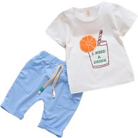 2-piece Orange Juice Print Short-sleeve Tee and Shorts for Baby Boy