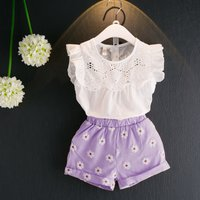 2-piece Hollow Out Flutter Sleeves Top and Floral Pattern Shorts for Girls