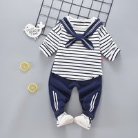 Baby's 2-piece Navy Bowknot Decor Striped Top and Pants Set