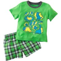 Cool Dino Print Short-sleeve Tee and Plaid Shorts Sets for Baby Boys